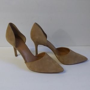 J. Crew Tan Suede Leather Point Toe Heels